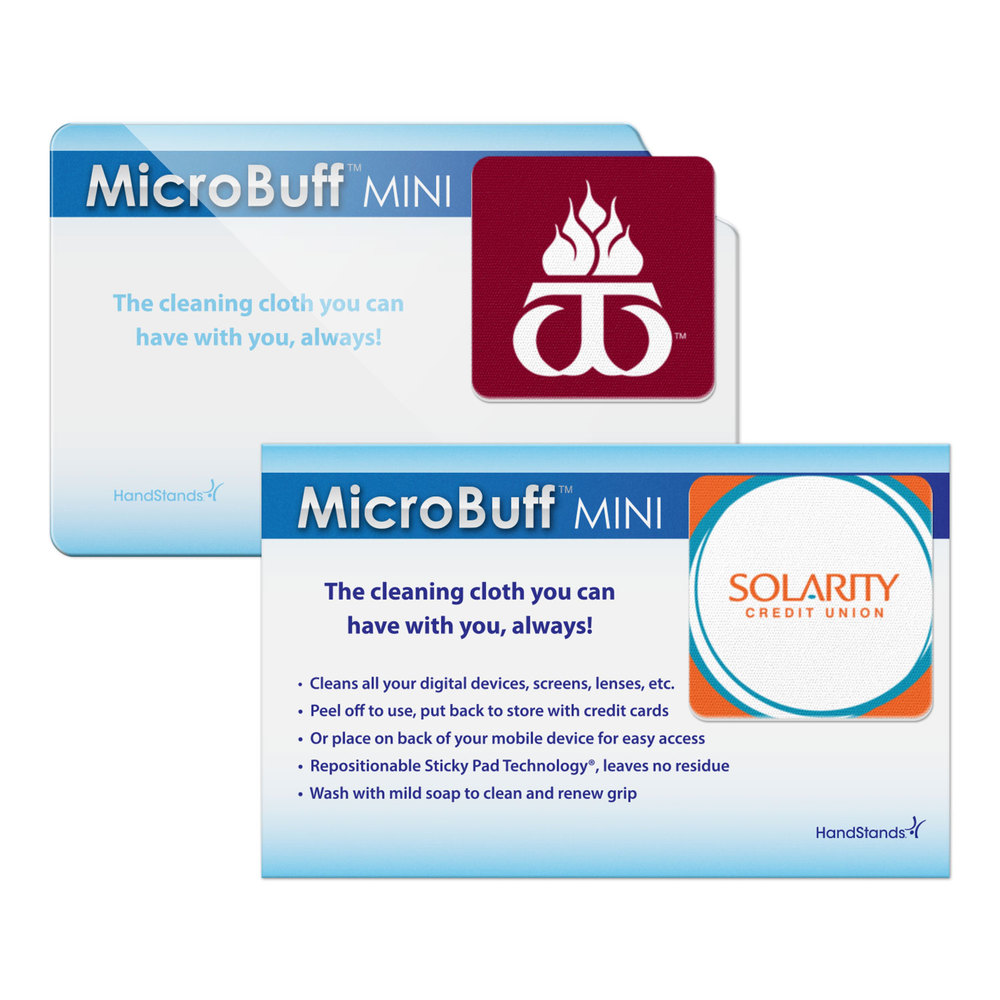 MicroBuff™ MINI promotional product - Square option with the standard plastic card, or card stock card.