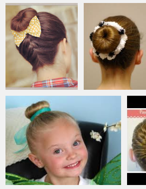 Examples of what buns should look like. USE HAIR NETS!! USE HAIR SPRAY!! No whispys.