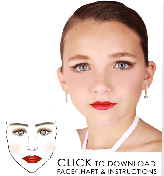 """Good example of how to do makeup. Search Youtube for """"Recital Makeup"""" to get video tutorials."""
