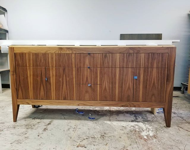 Walnut vanity ready for it's new home.  #walnut #customvanity #bathroomdesign #interiordesign #vanity #bathroom #customcabinetry #design #designbuild #woodworking #woodwork #cabinetry #customcabinetshop #handmade #sfmade