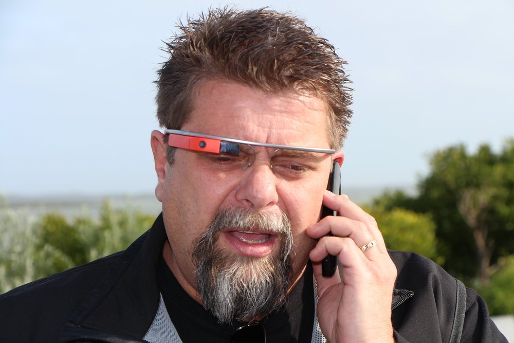 Photo: Alexander Hayes - Bruce Hammond wearing Google Glass.