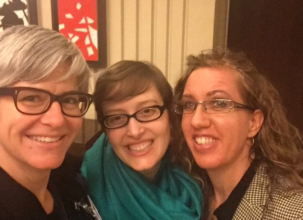 Behold! The power of the Twitter: Megan Kate Nelson, Jen Polk, and me hanging out!