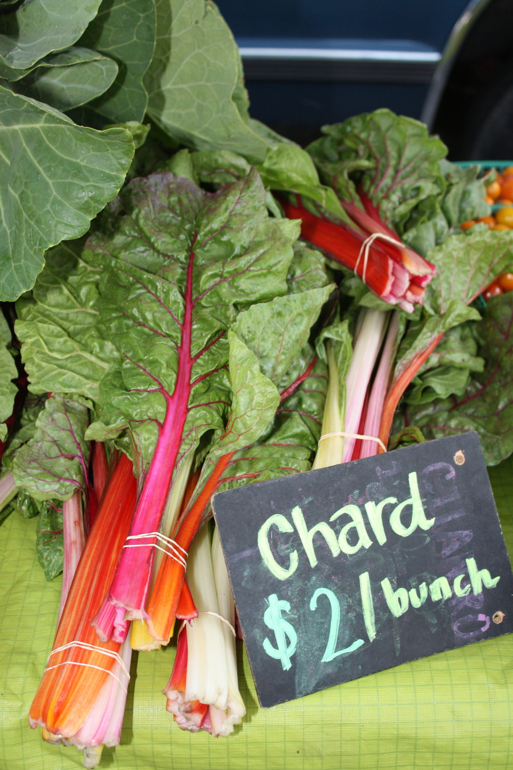Fresh stalks of chard for sale at the Veggielution Farmstand.