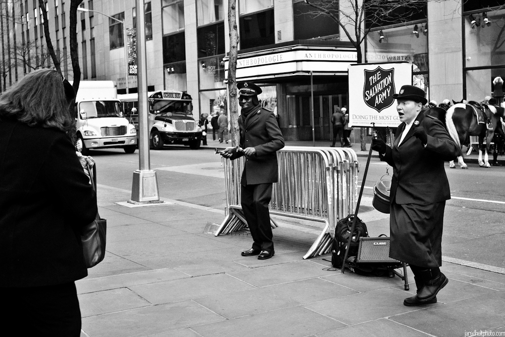 Dancing Salvation Army solicitors