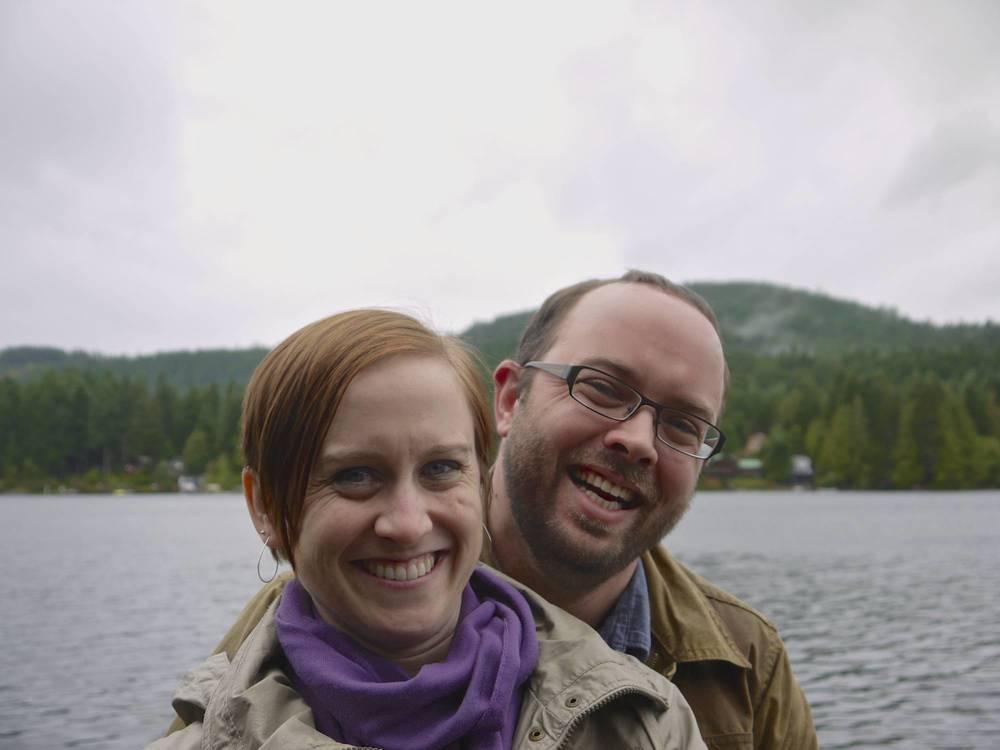 Happy Heather & Josh at lake near Cowichan Bay