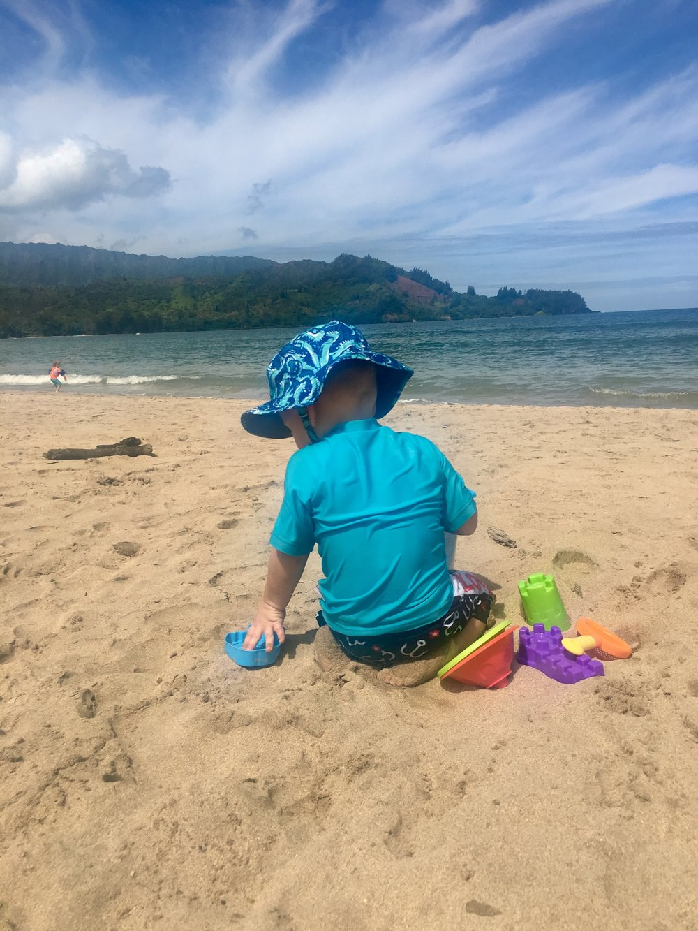 Fun in the Sand at Hanalei Beach