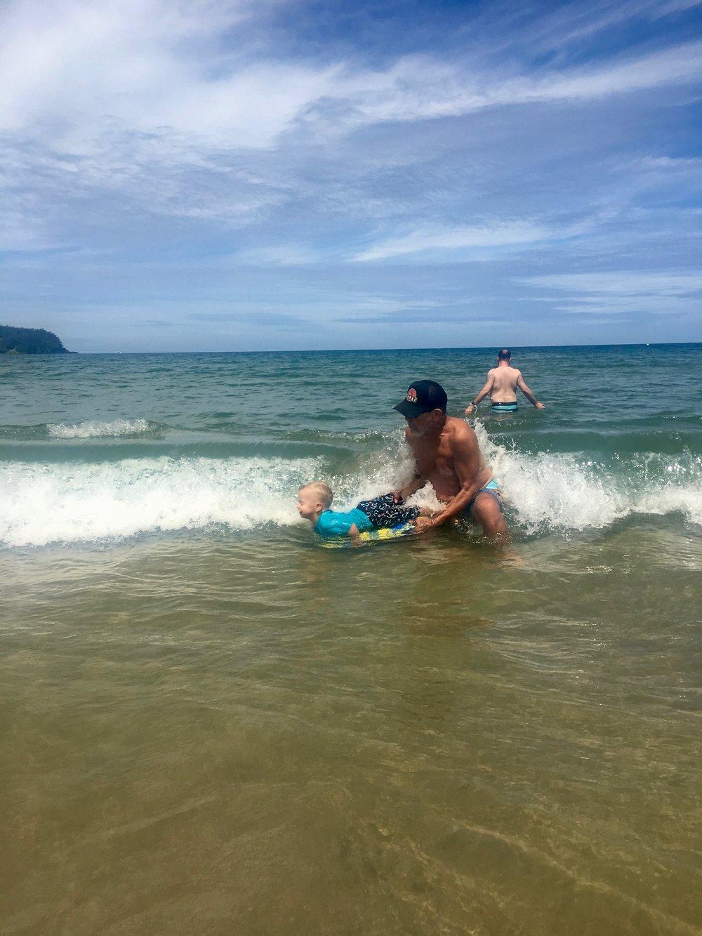 Boogie Boarding at Hanalei Beach
