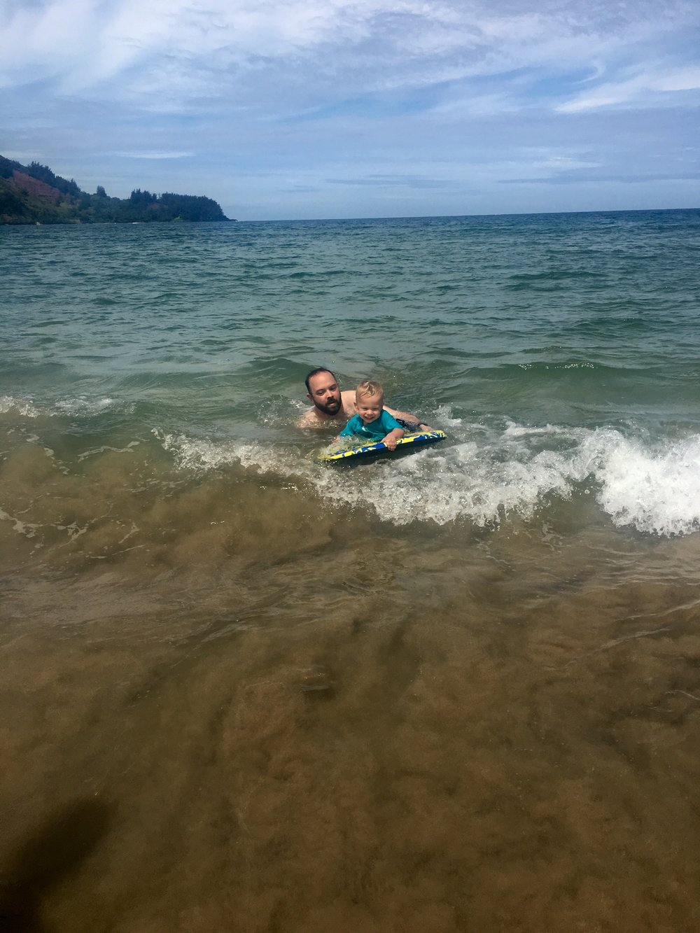 Boogie Boarding at Hanalei Beach