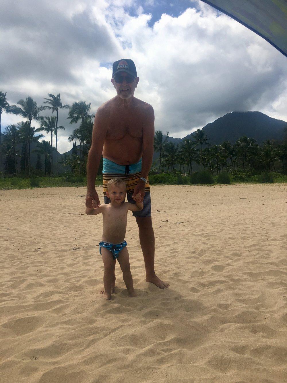 Papa Don and Caleb at Hanalei Beach