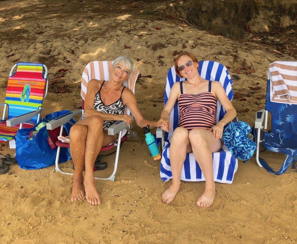 Nada and Heather at Anini Beach