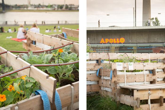 Urban Satellite - Bewässerungssystem und Lärchenholz-Raster