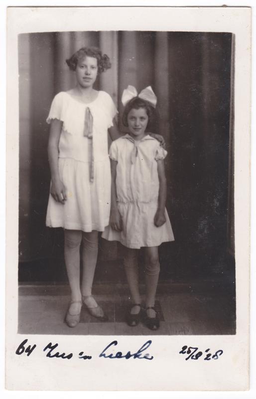 My grandmother, Liesje Elizabeth van Muylwyk on the right as a young girl.