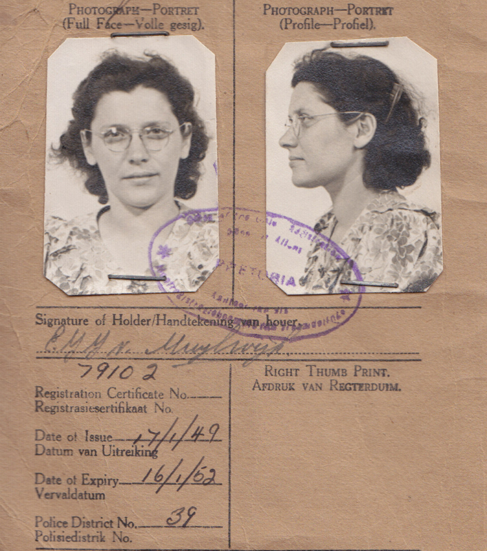 My grandmother's registration certificate for South Africa.