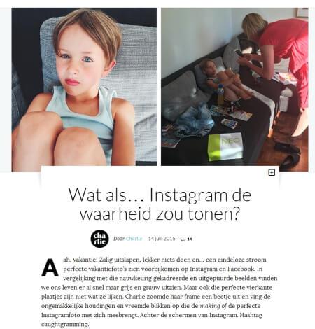 Foto: schermafbeelding van het eerste deel van het artikel op Charlie Magazine.