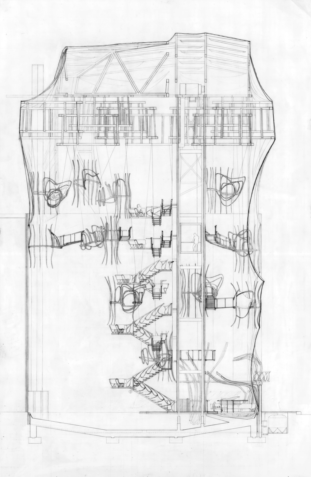 Boarding House, section, graphite on mylar, 2008