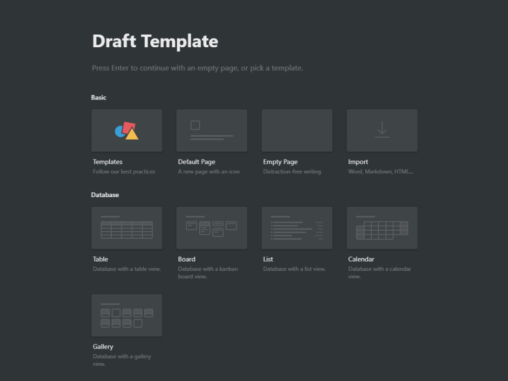 Notion Template for Drafts & Notes — Adam D  Edwards