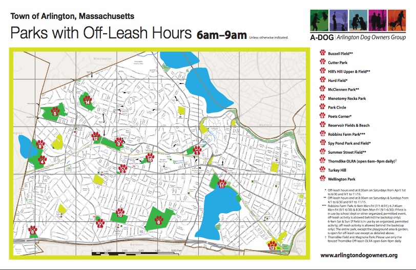 Arlington, MA Parks with Off Leash Hours