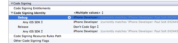 Code signing in Xcode 4