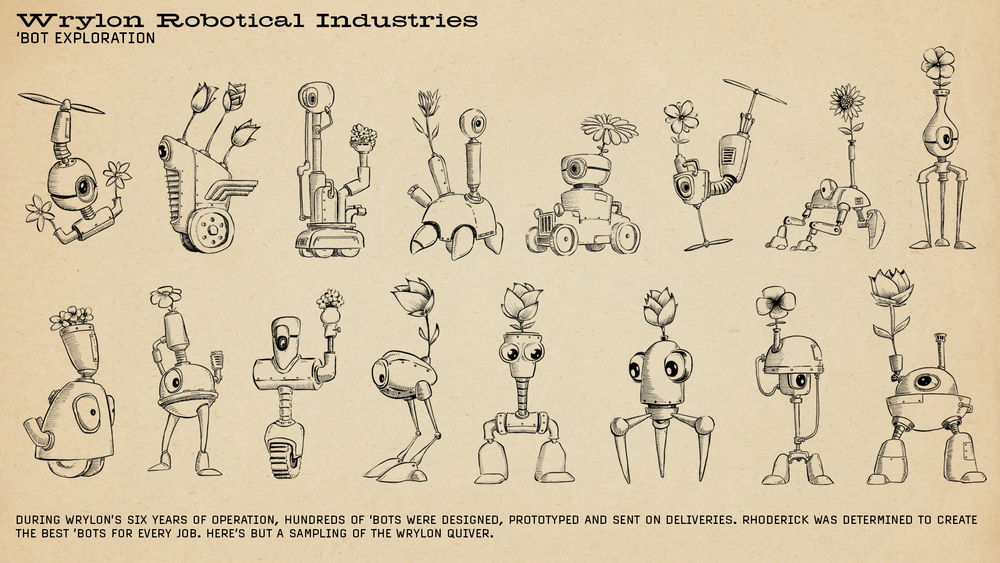 I Kickstarted this book and ended up sketching over 100 'bots for backers. Here are some of my favorites.