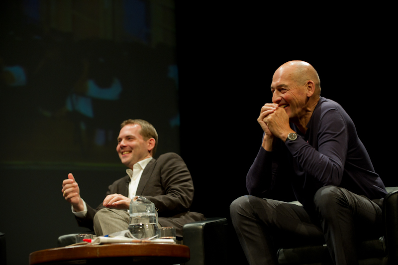 David Gianotten (L) and Rem Koolhaas (R) of OMA, architects of MPavilion 2017