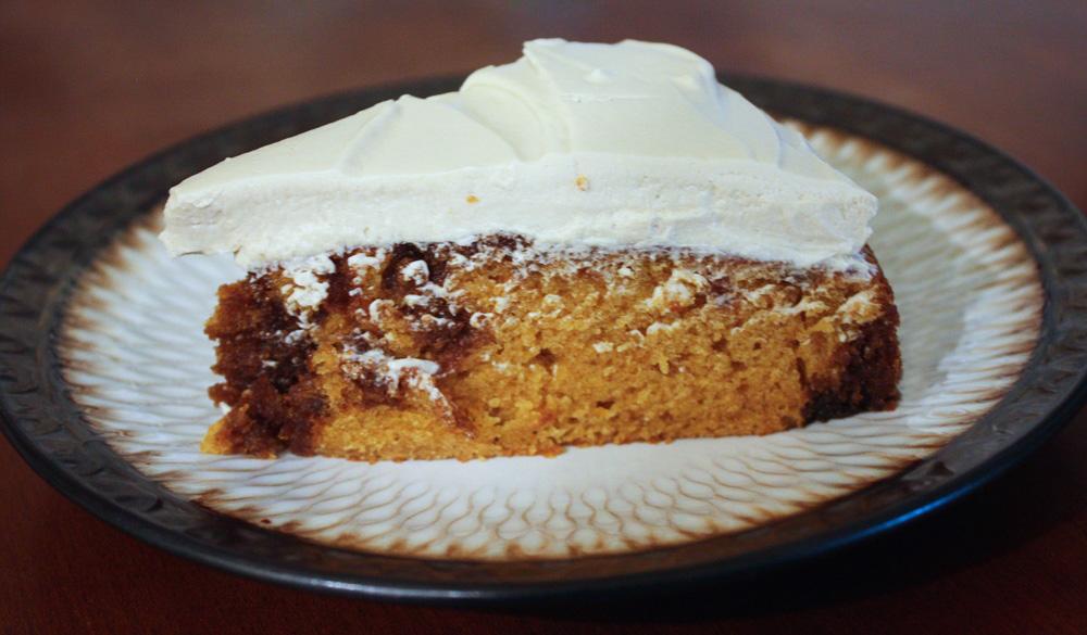 Pumpkin Spice Rum Cake Slice