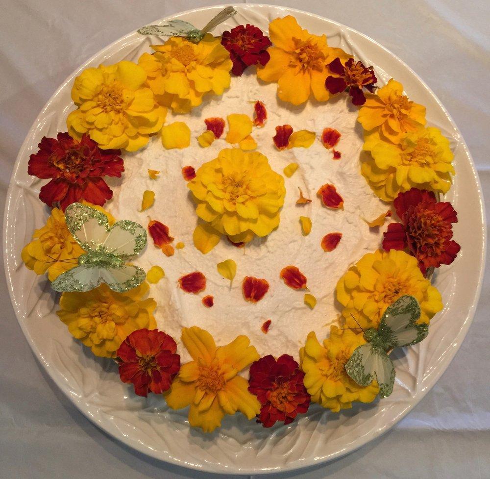 Lemon Creme Cake with Edible Flowers