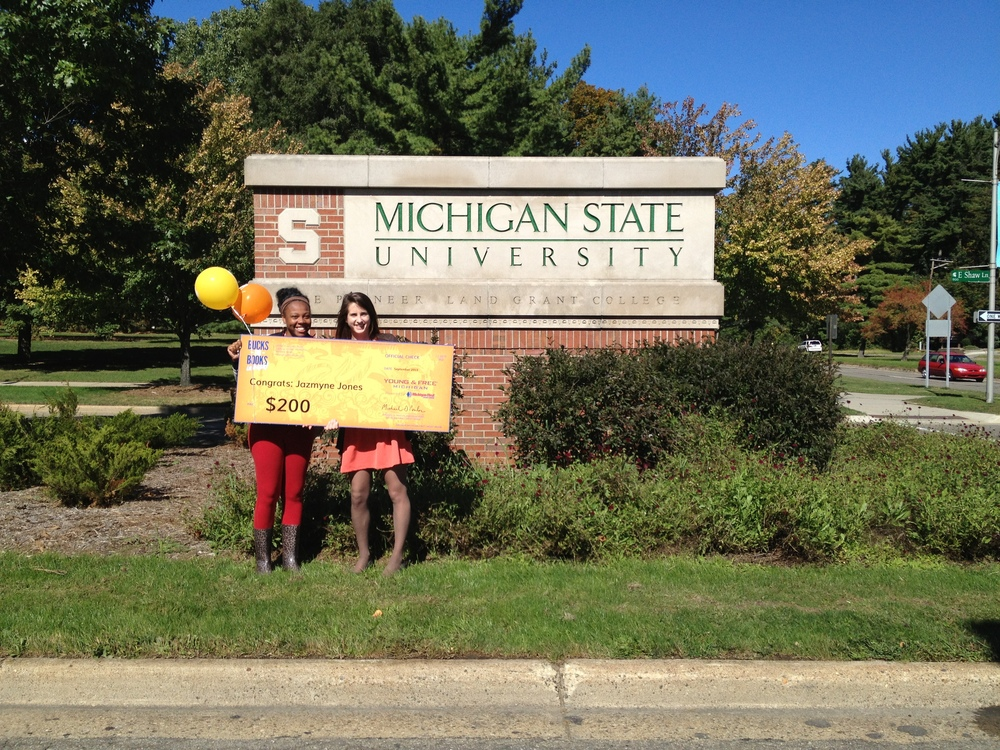 Jazmyne Jones at Michigan State won the Bonus Bucks $200, #3 school prize