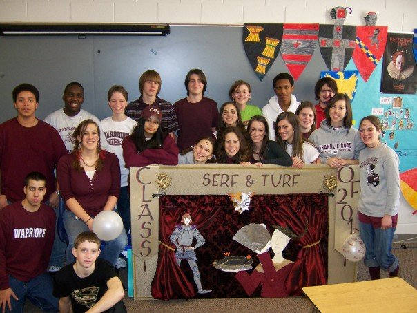 Freshman Year Spirit week. My class and our cool banner we made! Can you find Ebeth?!