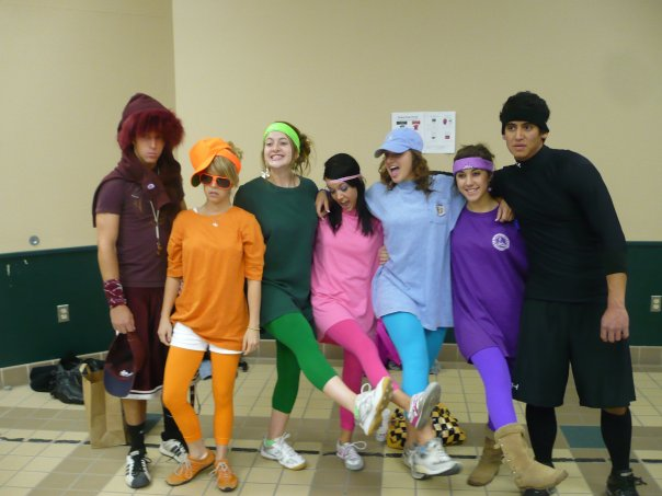 I didn't have any good pics of my Senior Year Homecoming, but this is a pic from my senior year, road rally. A big School Spirit, competitive scavenger hunt. My team was a box of crayons.