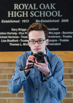 Royal Oak High School senior Evan Gulock is enjoying a number of recognitions for his films. (Photo by Deb Jacques )