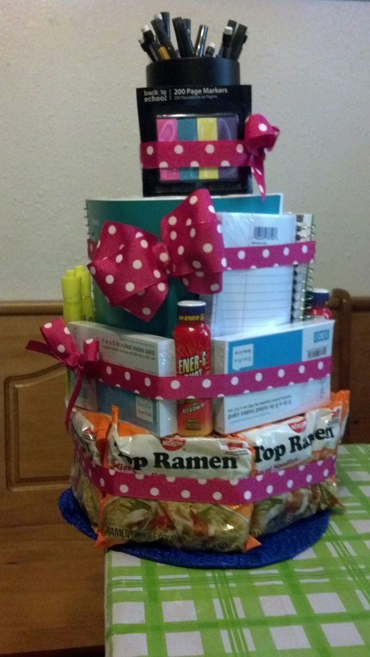 1. Gift basket with supplies and snacks!