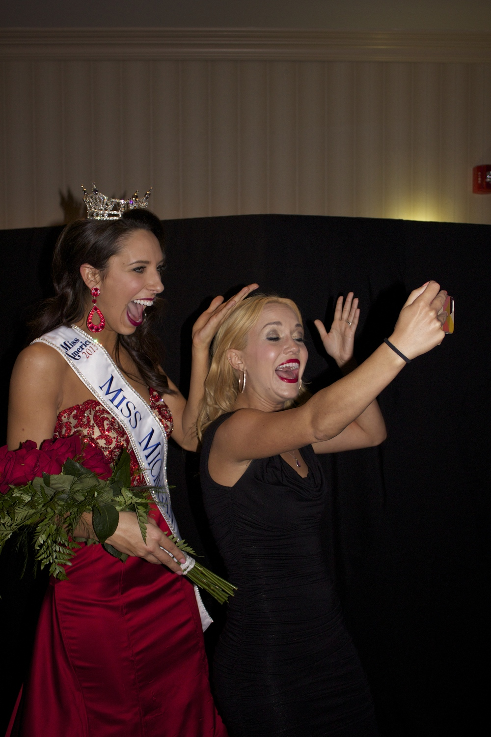 Taking a selfie video with the new Miss Michigan. :)