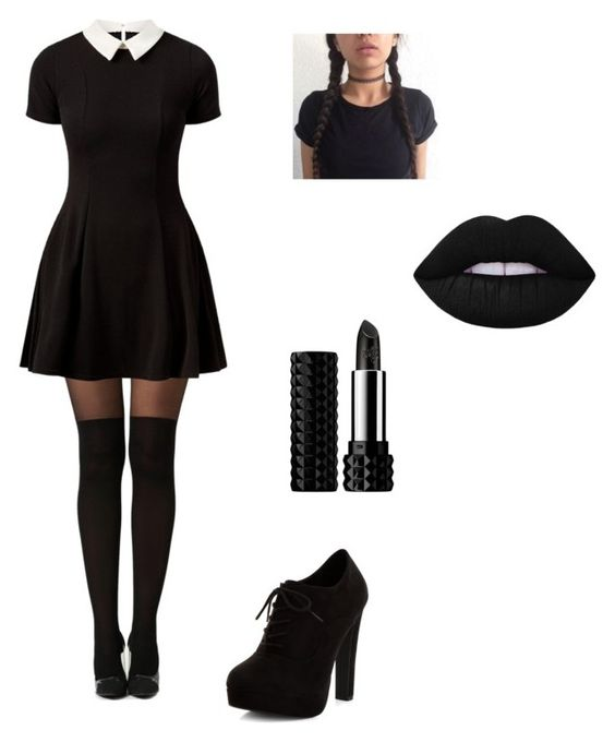 7. Wednesday Adams - This look is so simple and cute. Put your hair into two pigtails and add a black dress!