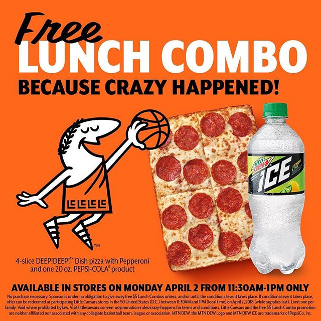 "We're officially on the clock guys! If you want a FREE 4 slice deep dish pizza from Little Caesars then listen up 😆  Little Caesars' Pizza is delivering on their March madness promise and giving away pizzas from 11:00am today until 1:00pm. Why you ask? Because ""CRAZY HAPPENED"" with a #16 team beating a #1 team at March Madness, everyone in America gets a free #LittleCaesars Lunch Combo today.  You have to place your order at the register by 1:00pm to qualify. Hurry before the madness ends! #crazyhappened #littlecaesars"