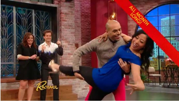 Manisha & Alex demonstrate dip on Rachael Ray with Louis van Amstel coaching