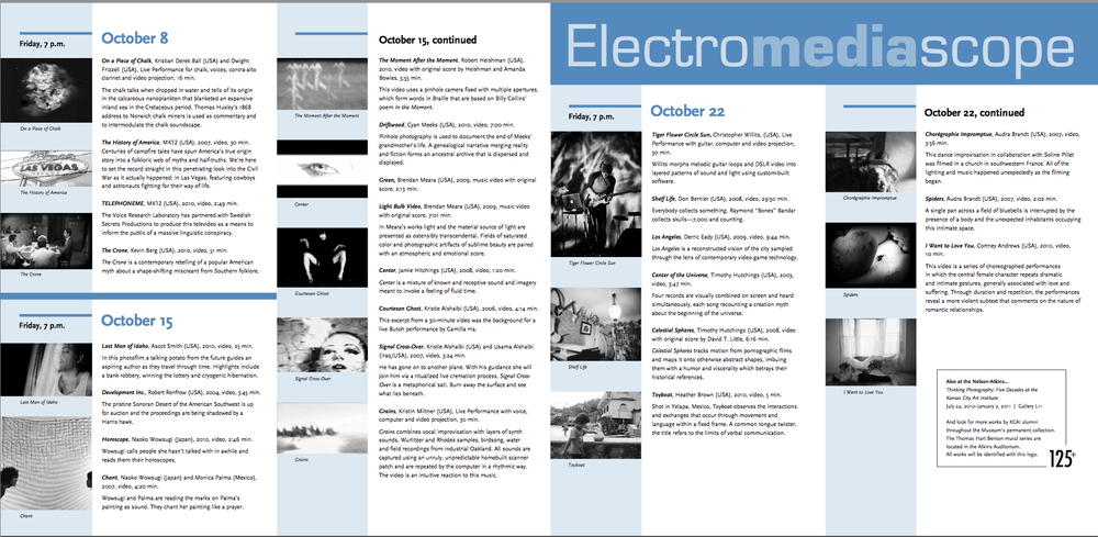 Electromediascope Program - Fall 2010