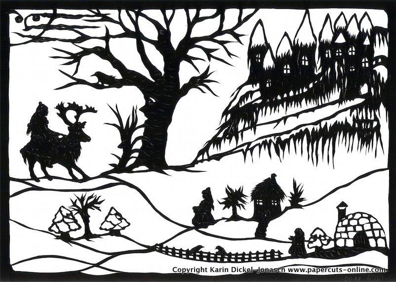 7.Schneekoenigin-Gerda kommt bei der Finnin und Lappin vorbe.jpg
