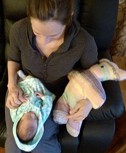 Gabriella with Isabella and her SAORI teddybear.