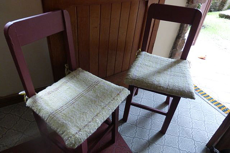 There are 5 of these little chairs here in the apartment that I painted and made cushions for.