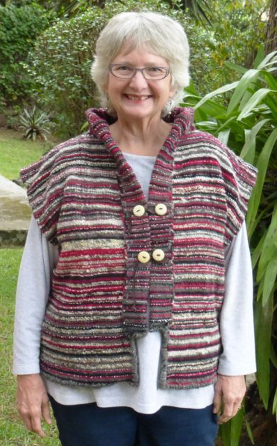 This vest jacket is so cozy and the collar stands up to keep the neck warm. I love it. Tagua nut buttons by Jaime Torres.