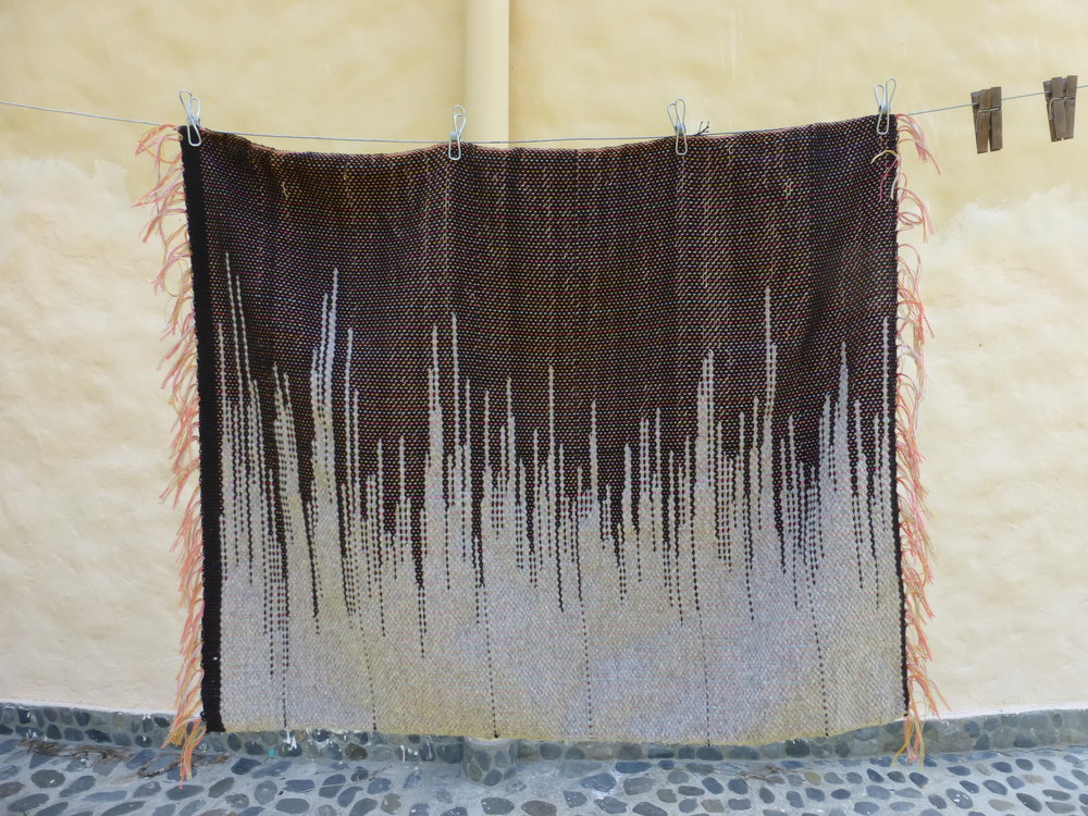 For the third sample I used the thicker black cotton and a gray wool thread. I did a clasped-weft technique which uses double threads.