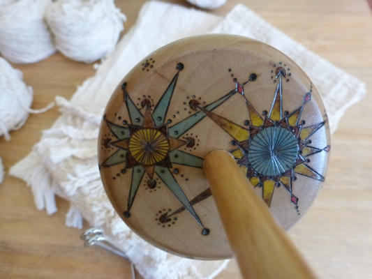 This is a closeup of the design on this beautiful Navajo Spindle.