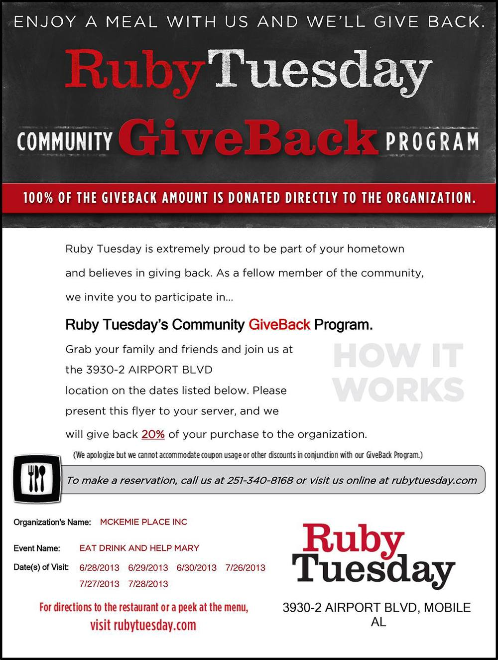 Print out this image and bring it into the Ruby Tuesday on Airport BLVD in Mobile to give 20% back to the community.