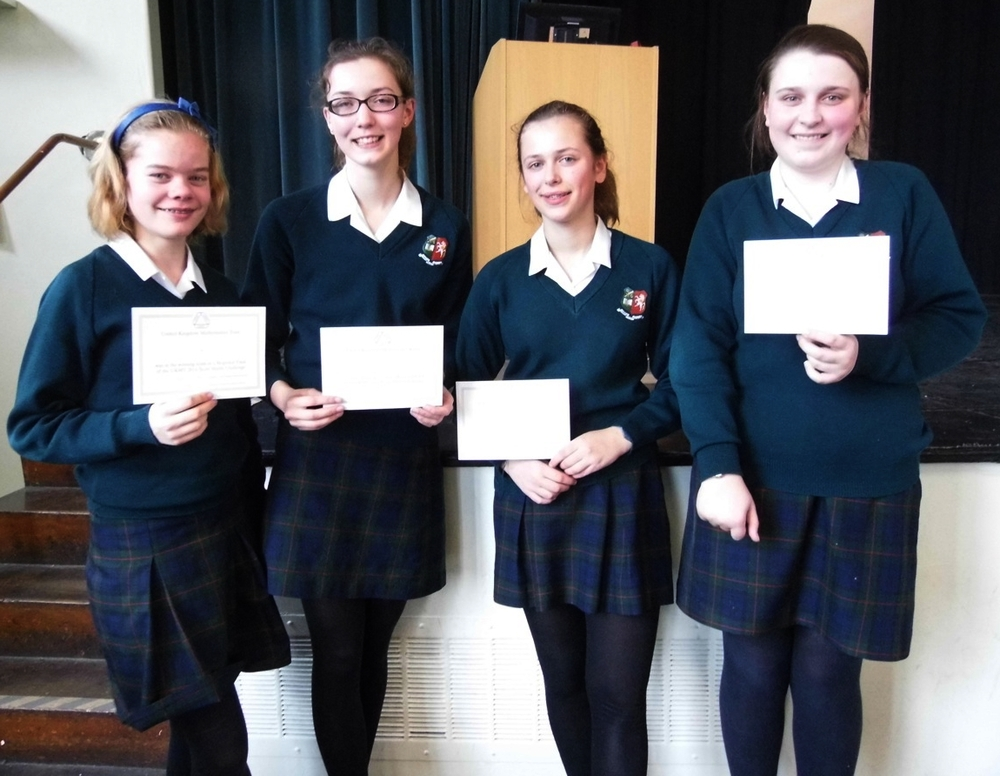 The winning team: Rose Blyth, Sophie McInerny, Emily James and Elizabeth Hopkins