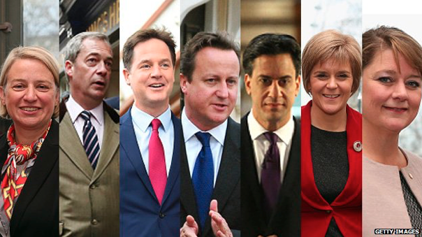 The leaders of the Green Party, UKIP, the Lib Dems, the Conservatives, Labour, the SNP and Plaid Cymru