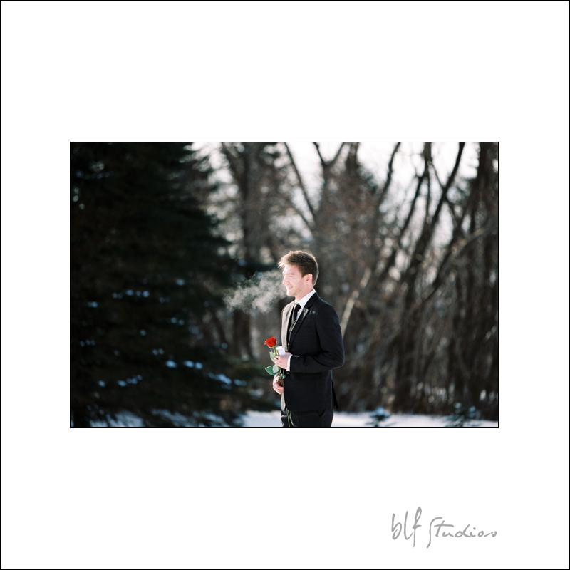 A winter wedding First Look.