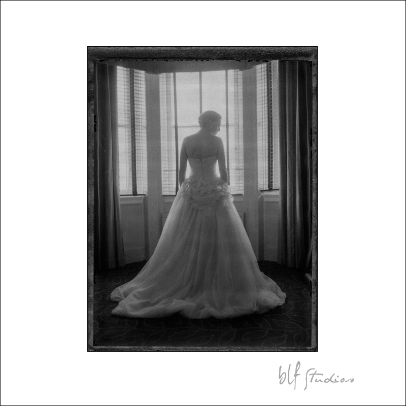 Andrea and her stunning Vera Wang wedding dress on Fuji Instant Film.