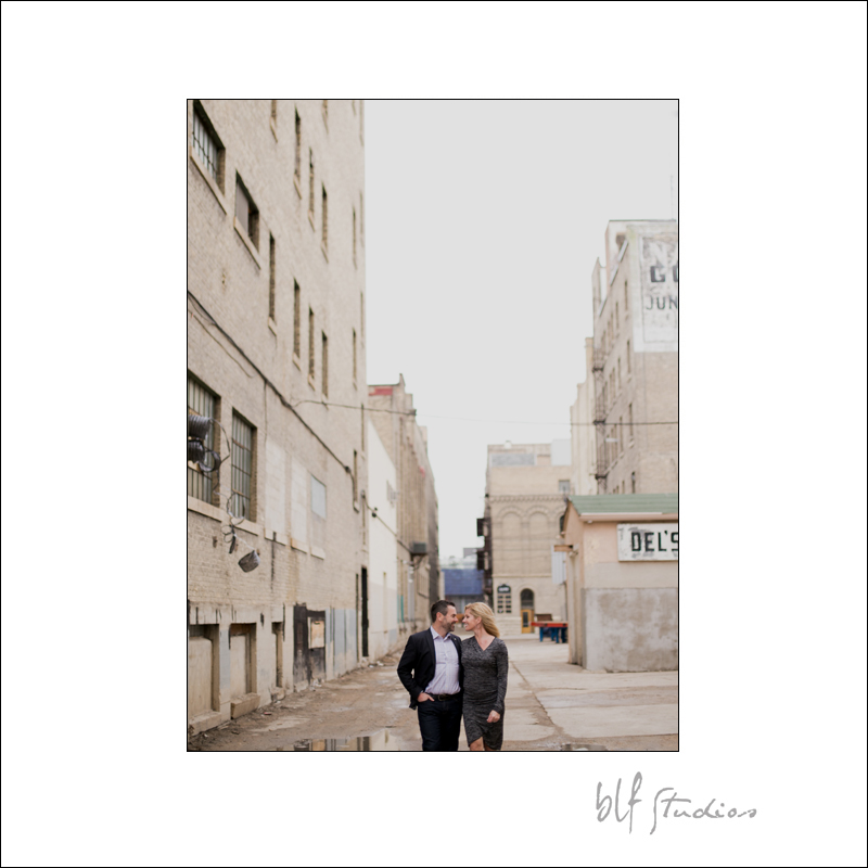 Engagement photographer in Winnipeg Exchange District