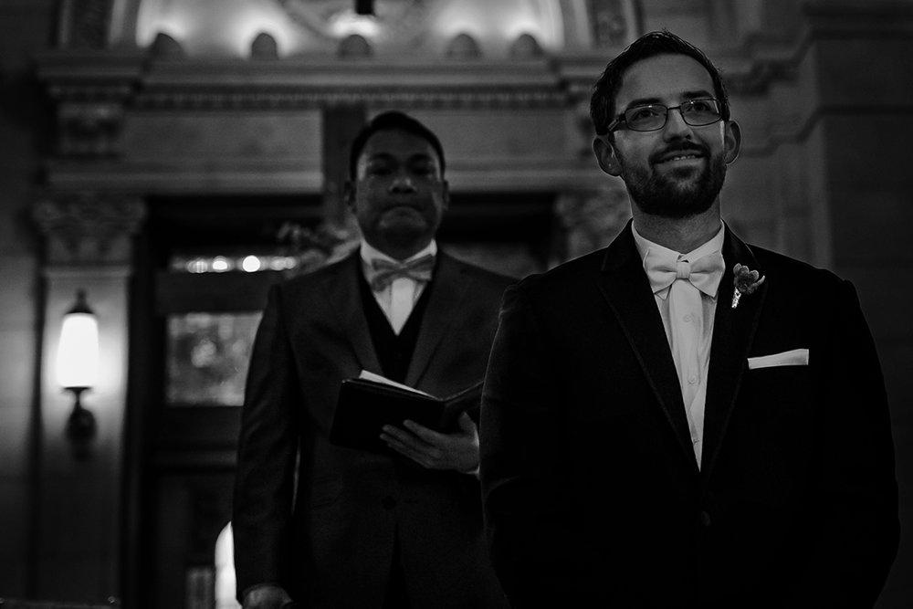 Wedding ceremony photo groom in Hotel Fort Garry Crystal Ballroom.jpg