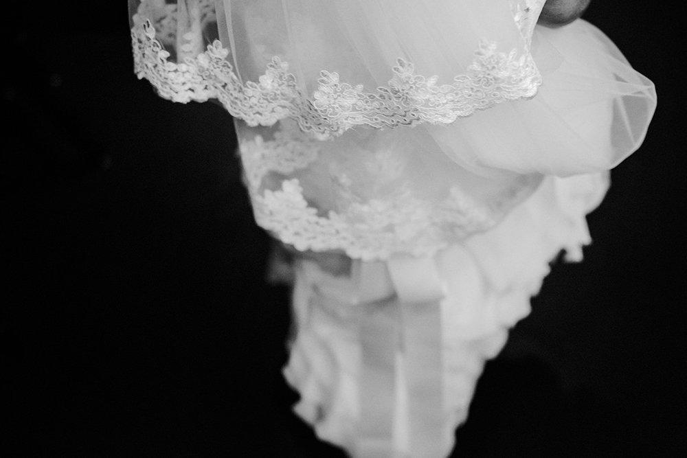 Winnipeg wedding gown black 'n white